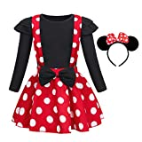 Jurebecia Recién Nacida Tutú Primer Cumpleaños 3 Piezas Trajes Mameluco Falda niñas Vestido de Lunares + Mini Mouse Ears Diadema Mangas largas