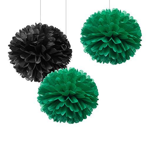 WEVEN Papierblumen zum Aufhängen, 30,5 cm, Grün/Schwarz, 12 Stück