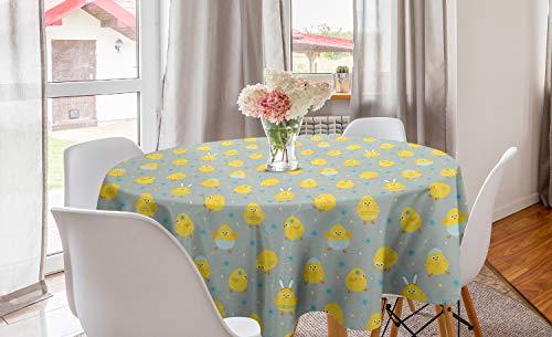 ABAKUHAUS Gele vogel Rond Tafelkleed, Cartoon Kip van de baby, Decoratie voor Eetkamer Keuken, 150 cm, Pale Seafoam Mosterd