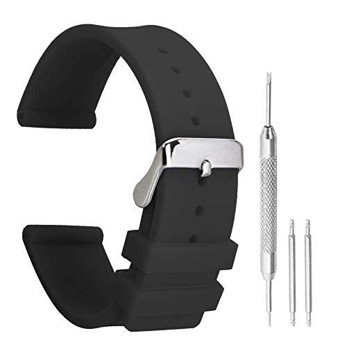 pulseras de reloj de la correa de caucho negro reloj deportivo de silicona antideslizante de 14 mm de moda para mujer extremo recto