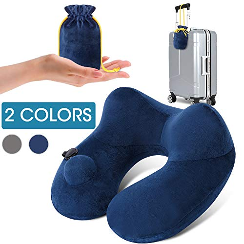 Inflatable Neck Travel Pillow for Airplane Long Flight Hault Trip Support Soft Velvet Hypoallergenic Washable Cover