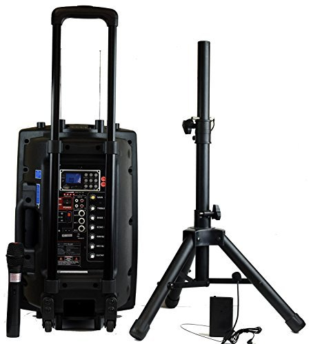Hisonic HS420 Rechargeable Portable PA System with Dual Wireless Microphones with MP3 Player/Recorder, Bluetooth Connection and Tripod Included