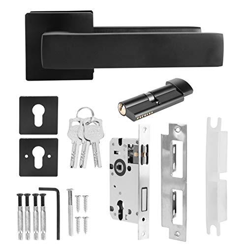 Black Adjustable Simple Lock Cylinder Handle Set Keyed‑Locking Door Knob Accessory