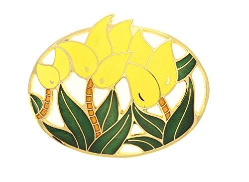 behave Mujer Flor Broche en Forma Ovalada Hecho de Esmalte - Amarillo - 5,5cm tamaño