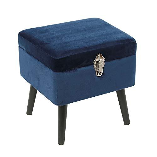 THE HOME DECO FACTORY Coffre Velours Bleu, Bois, 40 x 33,5 x 40 cm