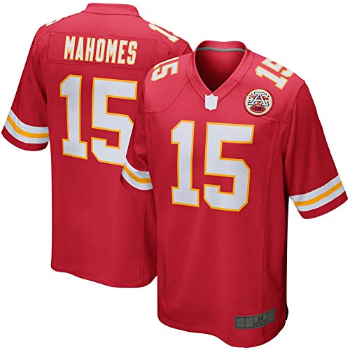 American Football Trikot Patrick Chiefs rot NO.15, Kansas City Mahomes Game Player Trikot Quick-Drying Outdoor Casual T-Shirts (L)