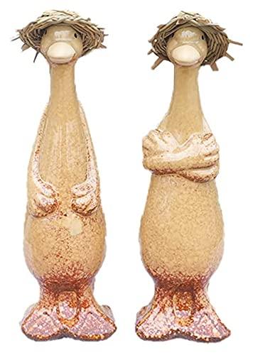 LIUBINGER Escultura 2PCS Ducto Estatua jardín Animal Escultura cerámica artesanía Modelo Adornos Arte Figurines al Aire Libre decoración del hogar terraza Accesorios Manualidades
