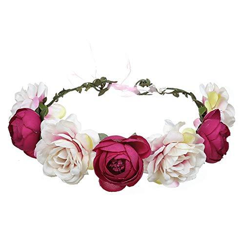 YAZILIND Rose flor tocado hecho a mano accesorios de pelo Festival diadema accesorios de vestido de novia rosa rojo