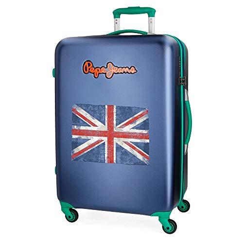 Koffer middelgrote Pepe Jeans Bristol blauw met vaste vlag 67 cm