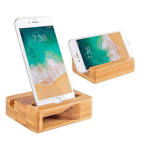 Encozy Support à poser de téléphone portable avec amplificateur de son, en bambou naturel