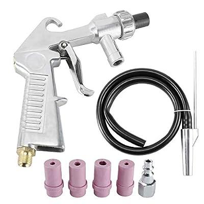 YaeKoo Sandblaster Kit Air Siphon Feed Gun Nozzle Rust Remove Abrasive with 4Pcs Ceramic Nozzle Tips for Sandblast Cabinets
