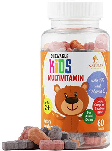 Kids Multivitamin Extra Strength Daily Children's Vitamin - Complete Child Daily Multi Supplement - Made in USA - Best Chewable Tablet with Vitamins C, D, E, B6, Non-GMO - 60 Tablets