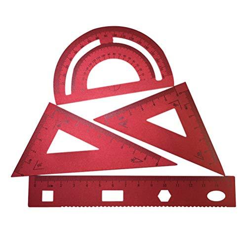 MILISTEN Juego de Reglas de Escala de Aluminio de 4 Piezas Regla Regla Triangular Y Transportador Herramienta de Geometría Matemática para Estudiantes Dibujantes Ingenieros Diseño Gráfico