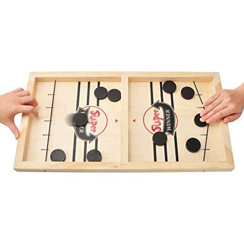 YYL Schnelles Sling Puck Spiel Tisch Desktop Battle, Hölzern Eishockey Brettspiel Gewinner Brettspiele Spielzeug Interaktives Eltern-Kind-Schachspielzeug für Erwachsene und Kinder
