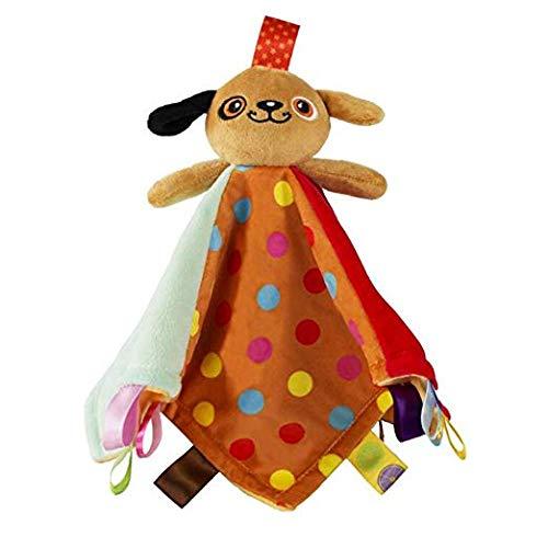 Manta de seguridad Inchant Taggies - Juguete suave Taggy Blankit para bebés y niñas - Juguete sensorial de felpa Lovey que calma y proporciona seguridad para bebés, perro marrón