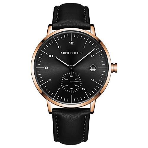 QZPM Reloj De Cuarzo Analógico para Hombre Calendario Multifunción 30M Impermeable Cronógrafo Moda Correa De Cuero Relojes para Hombre,Rose Black