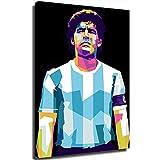 Coobals Póster de fútbol pintado sobre lienzo de Diego Maradona, decoración de sala de estar, dormitorio, decoración para sala de estar, decoración del hogar (enmarcada, 30 x 45 cm)