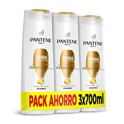 Pantene Pro-V Repara y Protege, Champú sin Colorantes Pelo Seco y Dañado - Pack Ahorro 3 x 700 ml, 0% siliconas, 0% aceites minerales, 0% colorantes, pelo 100% más fuerte