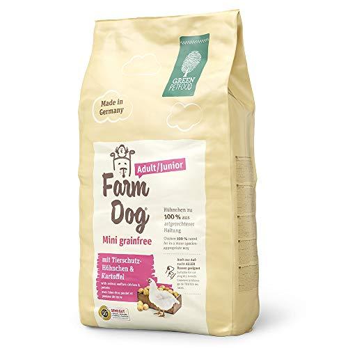 Green Petfood FarmDog Mini Grainfree Junior/Adult (1 x 10 kg) | getreidefreies Hundefutter mit Tierschutz-Hühnchen | nachhaltiges Trockenfutter für wachsende und ausgewachsene Hunde | 1er Pack