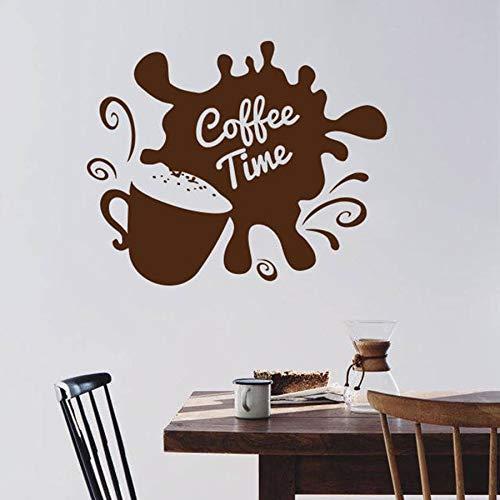Tianpengyuanshuai Zeit zum Aufkleber Kaffeetasse Bohnen Cafe Küche Restaurant Vinyl Wandaufkleber 52X50cm