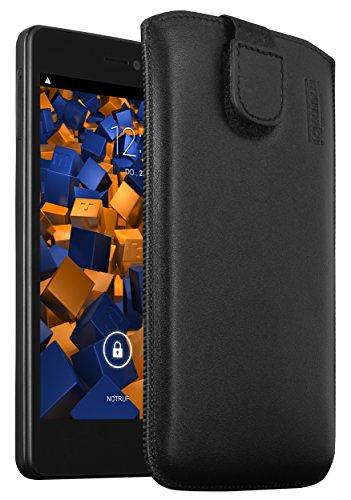 mumbi Echt Ledertasche kompatibel mit Wiko Highway Signs Hülle Leder Tasche Case Wallet, schwarz