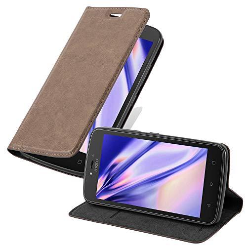 Cadorabo Hülle für Motorola Moto C Plus - Hülle in Kaffee BRAUN – Handyhülle mit Magnetverschluss, Standfunktion & Kartenfach - Case Cover Schutzhülle Etui Tasche Book Klapp Style