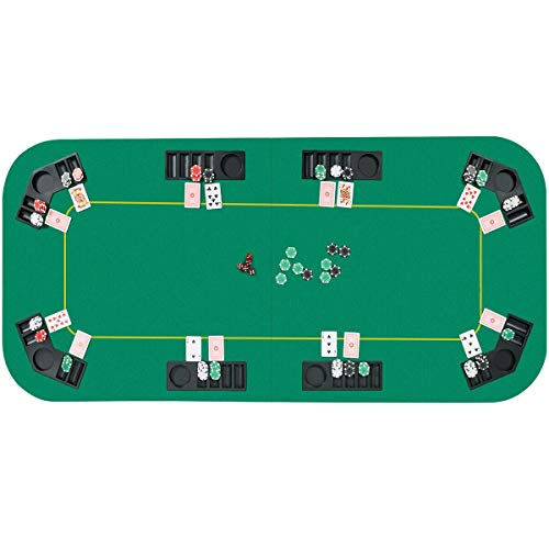 Giantex 8 Player Poker Table Top, 80''x36'' Folding Poker Table Top w/Storage Bag, Chip Tray and Tea Coaster, Idea for Home and Outdoor with Friends (Green)