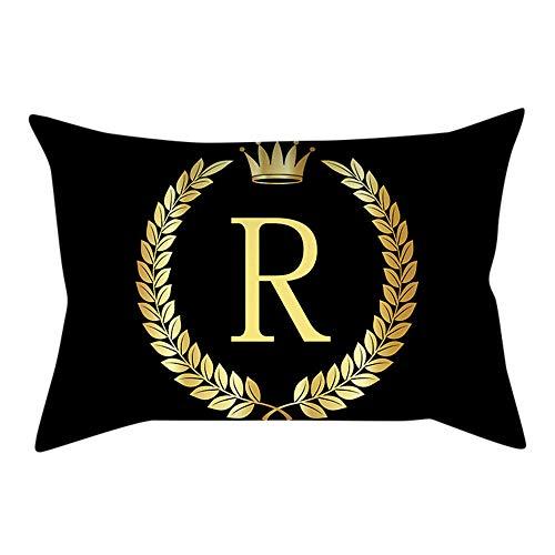 Watopi Funda de cojín vintage con letra inicial dorada brillante, corona real y plantas brillantes, protector de almohada del alfabeto, letra mayúscula, papel de aluminio, regalo de boda, 30 x 50 cm