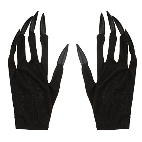 FRECI Halloween Gloves with Glitter Nails Performance Props Cosplay Costume Accessories Halloween Party Dress Supplies - Black