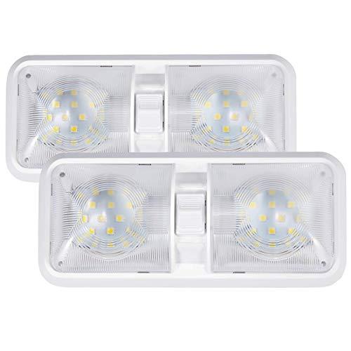 Kohree 2pcs lámpara LED 12 V Bombilla lámpara de techo para coche luz blanca luz interior para vehículo barco 48 x 5050SMD con interruptor on/off interruptor [Clase de eficiencia energética A+++]