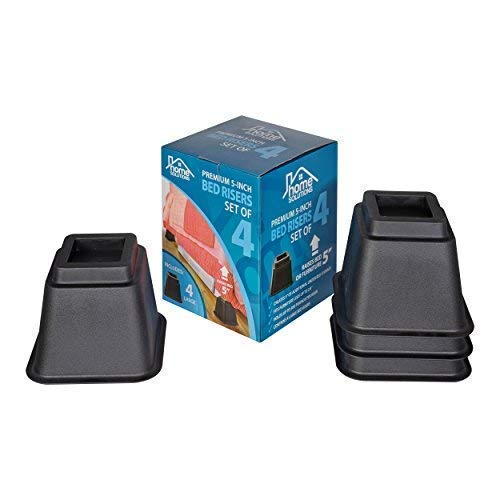 New Home Solutions Premium 5-Inch Bed Risers or Furniture Risers, Table Risers, Chair Risers or Sofa...