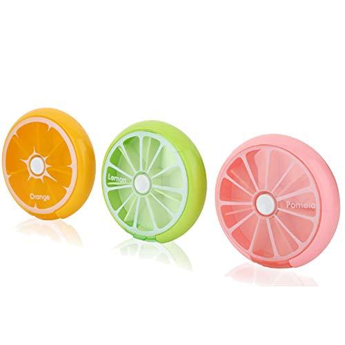 Cestlafit Tragbare drehbare 7 Tage wöchentliche Tablette Organizer Reisemedizin Tablette Vitamine Halter Spender Organizer Container, PP-Material, 3 Stück (Orange / Zitrone / Pomelo)