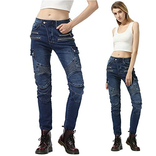 Dames-spijkerbroek Voor Motorfietsen, Met Beschermende Uitrusting, Anti-fall Jeans Met Rechte Pijpen, Motorbroek Voor Motorsport (S,Blue)