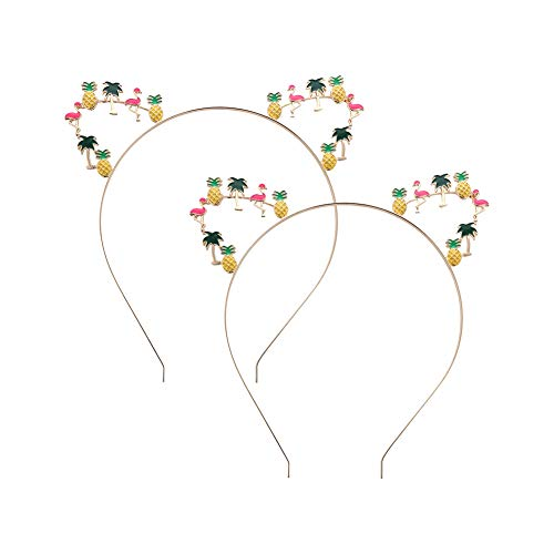 Wimagic 1x Cute Cat Ear Headband Pineapple Coconut Tree Flamingo Hair Hoop Women Girls Hair Band Headwear Hair Accessories for Daily Wear Party Beach Holiday