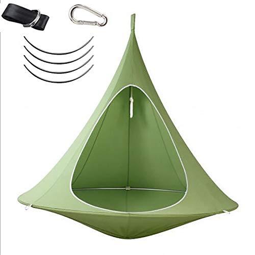 Yajun Hamaca de Nailon Portátil para Niños Adultos Camping sillas Colgante para Interior y Exterior Columpio Cama para Patio, Jardín 100 * 110 CM,Green
