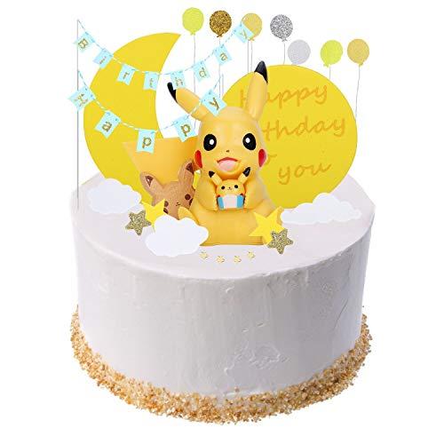 Colmanda Tortendekoration, Pokémon Tortendeko Geburtstag Cake Topper mit Pikachu Figuren Kindergeburtstag Deko für Kinder Geburtstag Baby Mädchen Junge