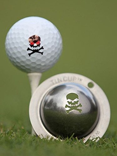 Tin Cup, Golfball-Schablone aus Edelstahl mit dem Motiv Totenkopf by Tin Cup