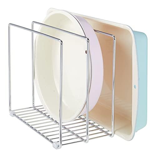 mDesign Soporte para bandejas de horno en metal – Compacto organizador de tapaderas para los armarios – Platero de cocina para guardar utensilios ahorrando espacio – plateado