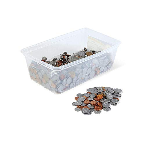 hand2mind Fake Money Bucket of Coins, 768 Detailed Fake Coins, Prop Money, Learning Toys, Play Money That Looks Real, Realistic Plastic Coins, Pretend Money for Kids to Learn with Plastic Storage Tote