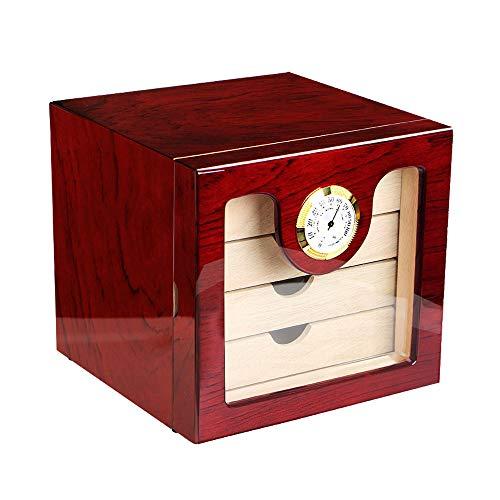 XF Hong Tai Yang Piano de Luxe Peinture Cigare en Bois Cigare hydratant boîte de Rangement avec 4 tiroirs hygromètre humidificateur Taille: 24 * 22 * 24cm ** (Couleur : A)