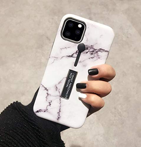 Omio for iPhone 11 Marble Case with Ring Grip Holder Kickstand Finger Circle Strap Shockproof Cover Case Cute Marble Stone Pattern Ultra Thin Smooth Surface Bumper Anti-Scratch Loop Case for iPhone 11