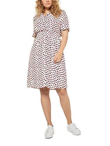 Ulla Popken Damen große Größen halbarm mit Druck Kleid, Weiß(72719620), 46-48