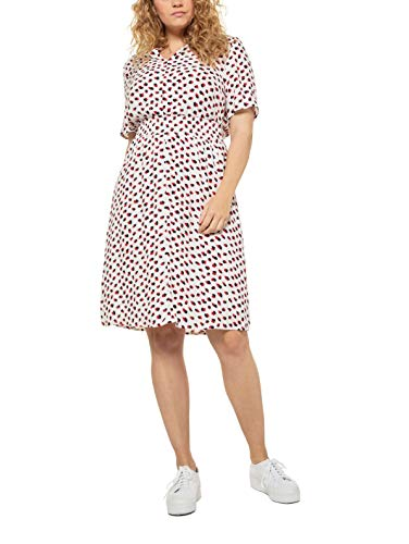 Ulla Popken Damen große Größen halbarm mit Druck Kleid, Weiß(72719620), 42-44