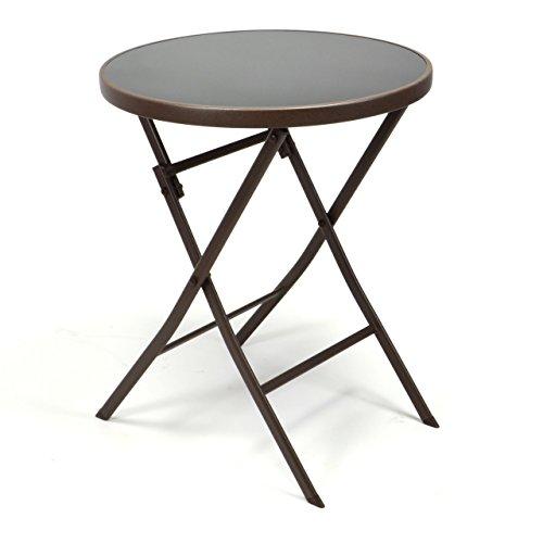 Nexos Bistro Tisch mit Glasplatte klappbar Terrassentisch Gartentisch Glastisch braun