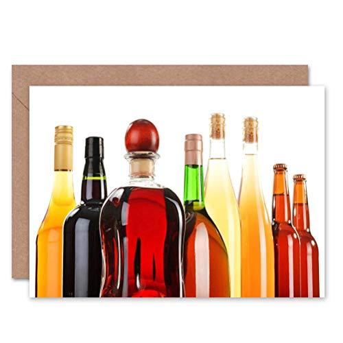 Wee Blauwe Coo ALCOHOL WIJN Bier Glazen flessen BLANK GREETINGS BIRTHDAY Kaart ART