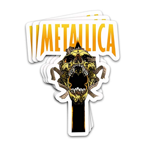 Endibast Metallicas Heavy Music Metal Band Bandage Screaming Skull Logo Name Vintage Fan Arts Stickers for Laptops Tumblers Books Luggages Cases Pack 3x4 in Vinyl 3pcs/Pack