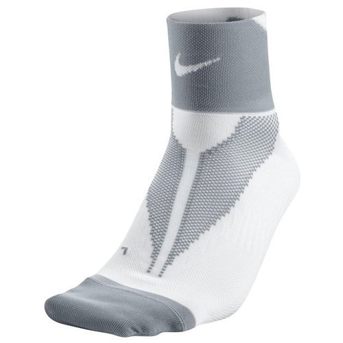 Nike One-Quarter Socks Elite Run Lightweight Calcetines, Unisex Adulto, Lima/Gris (Volt/Wolf Grey/Volt), 38.5-40.5