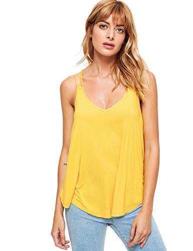 MakeMeChic Women's Flowy V Neck Strappy Tank Tops Loose Cami Top Yellow S