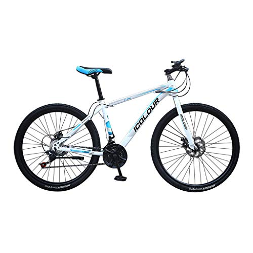 Find Discount Fitfulvan Adult Mountain Bikes 26in Carbon Steel Mountain Trail Bike 24 Speed Gears Dual Disc Bicycle Full Suspension MTB, White