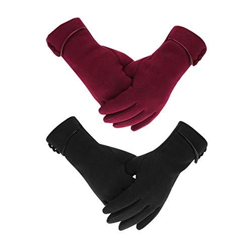 LAMA 2 Paar Damen Winter Handschuhe Touchscreen Handschuhe Warmer Plüsch Handschuh Gefüttert Winddicht Handschuhe Dicke Winterhandschuhe Frauen Damen und Mädchen Schwarz + Rot